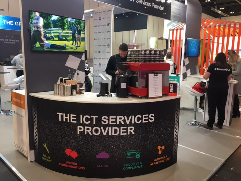 GCI branded mobile coffee bar by The Mobile Coffee Bean - mobile coffee van, bar and cart hire company at Excel London