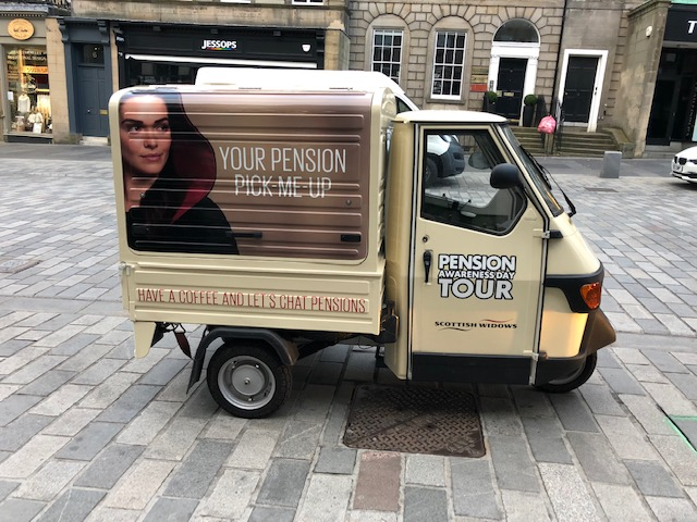 Scottish Widows Pension tour branded mobile coffee van by The Mobile Coffee Bean