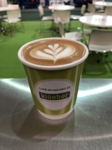 The Mobile Coffee Bean Build It Live Kloeber branded cup latte art