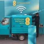 The Mobile Coffee Bean EE 5G promotion barista bar at Glastonbury