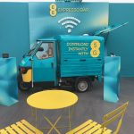 The Mobile Coffee Bean EE 5G promotion pop-up coffee shop at Glastonbury