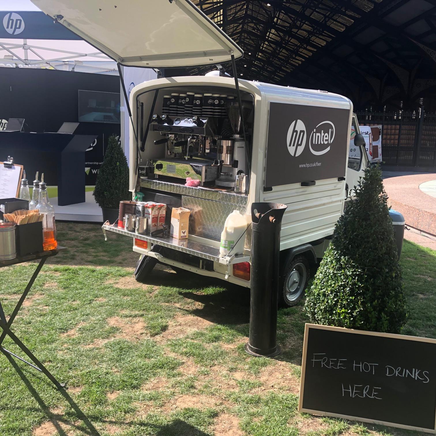 The Mobile Coffee Bean HP Intel branded mobile coffee van pop-up