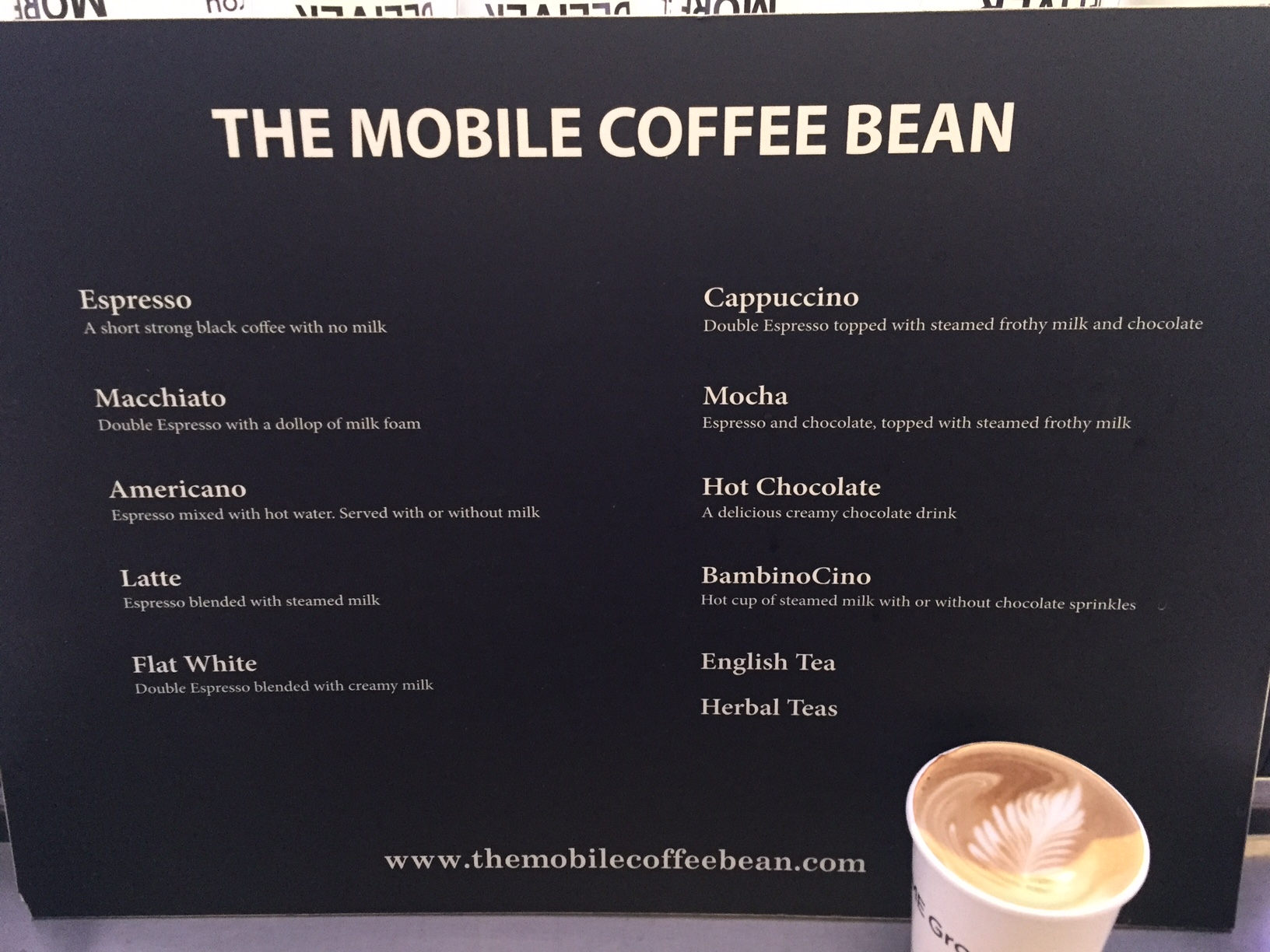 An example of The Mobile Coffee Bean mobile coffee menu