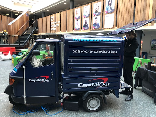 The Mobile Coffee Bean mobile coffee van branded for Capital One
