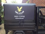 Close-up of our Lyle & Scott branded mobile coffee van