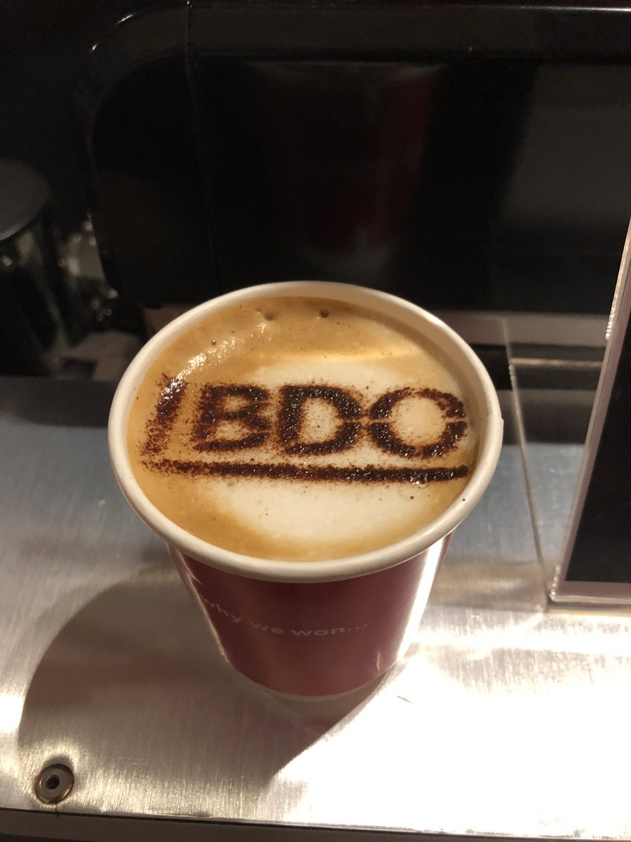 The Mobile Coffee Bean BDO logo branded coffee art