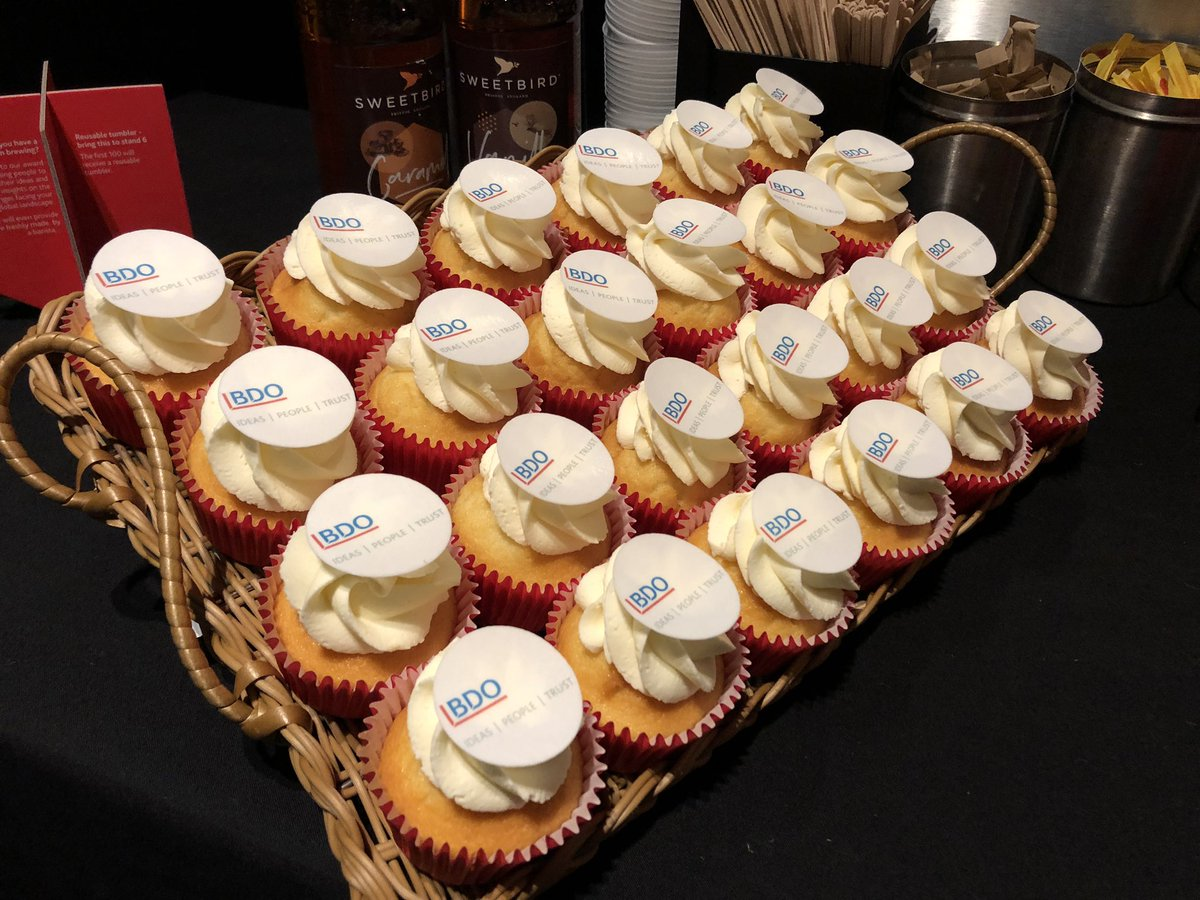 The Mobile Coffee Bean BDO logo branded cupcakes