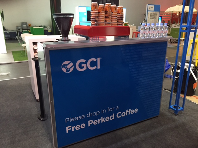 The Mobile Coffee Bean branded mobile coffee bar hire for GCI