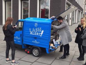 The Mobile Coffee Bean coffee served from an branded mobile coffee van for Eyeko London