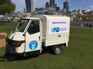 The Mobile Coffee Bean corporate branded mobile coffee van for Procter & Gamble by the River Thames, London