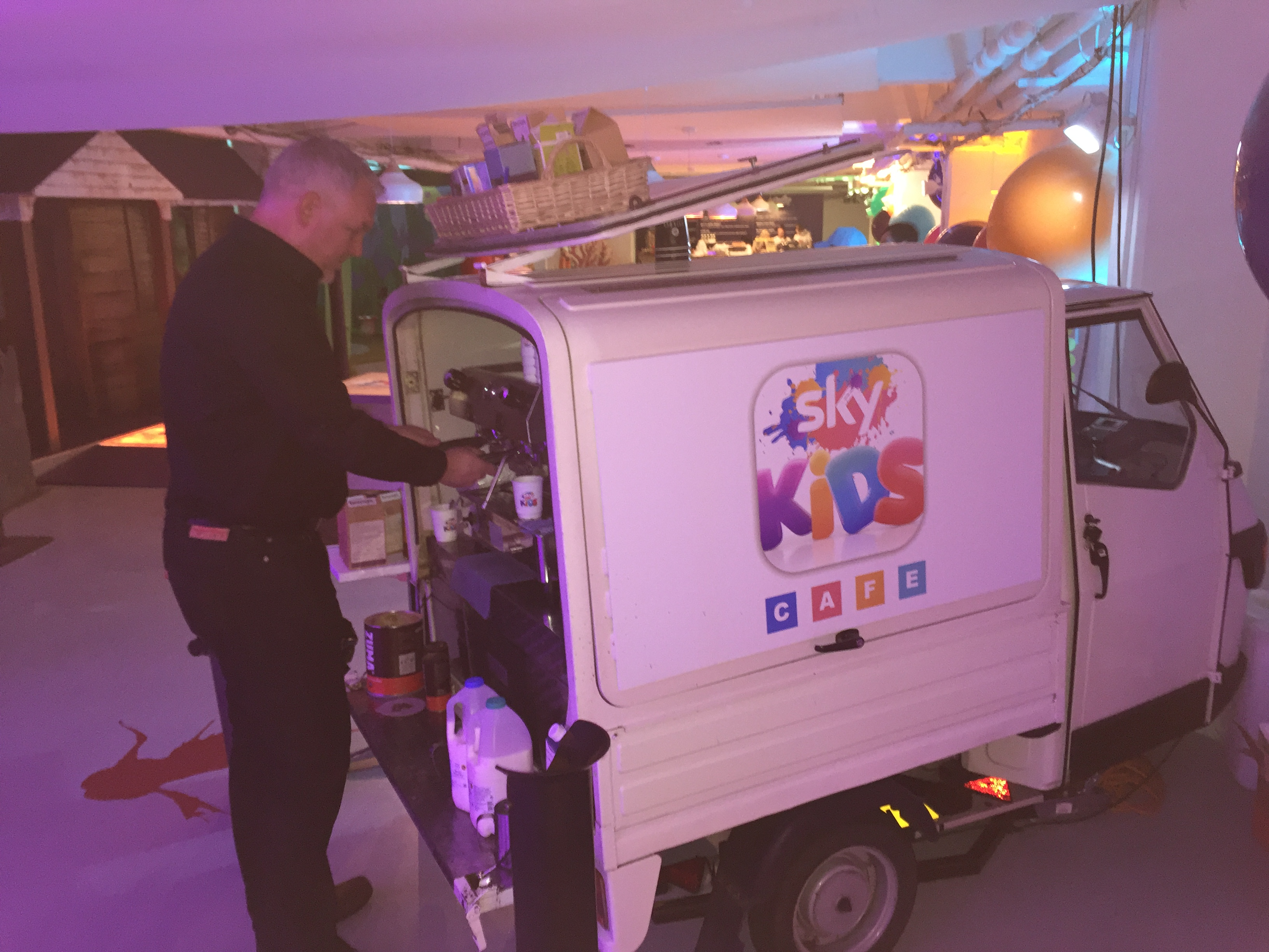 Photos of mobile coffee van, cart and bar hire - The Mobile Coffee Bean corporate branded mobile coffee van hire for Sky Kids cafe