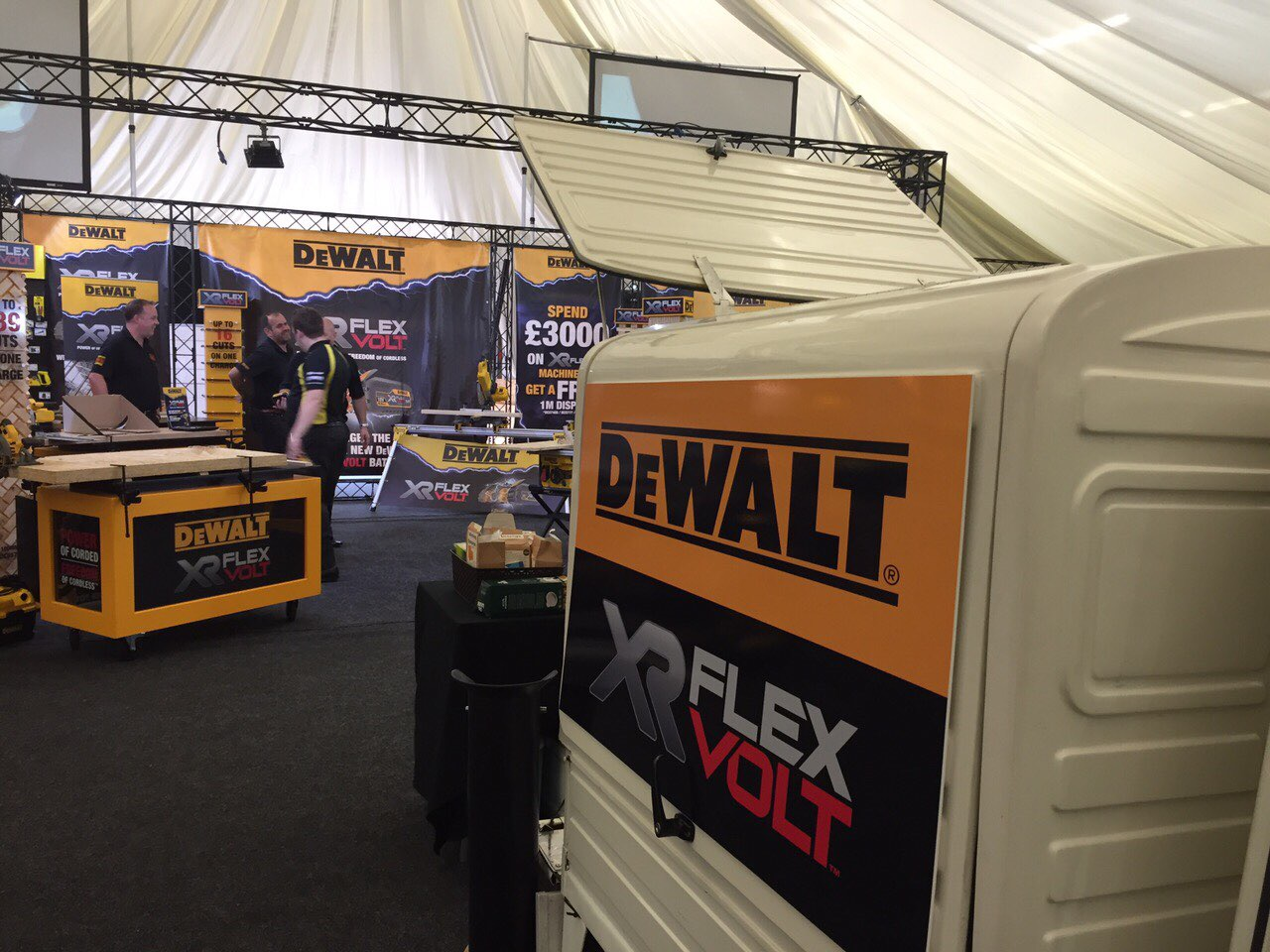 The Mobile Coffee Bean mobile coffee van branded for DeWalt