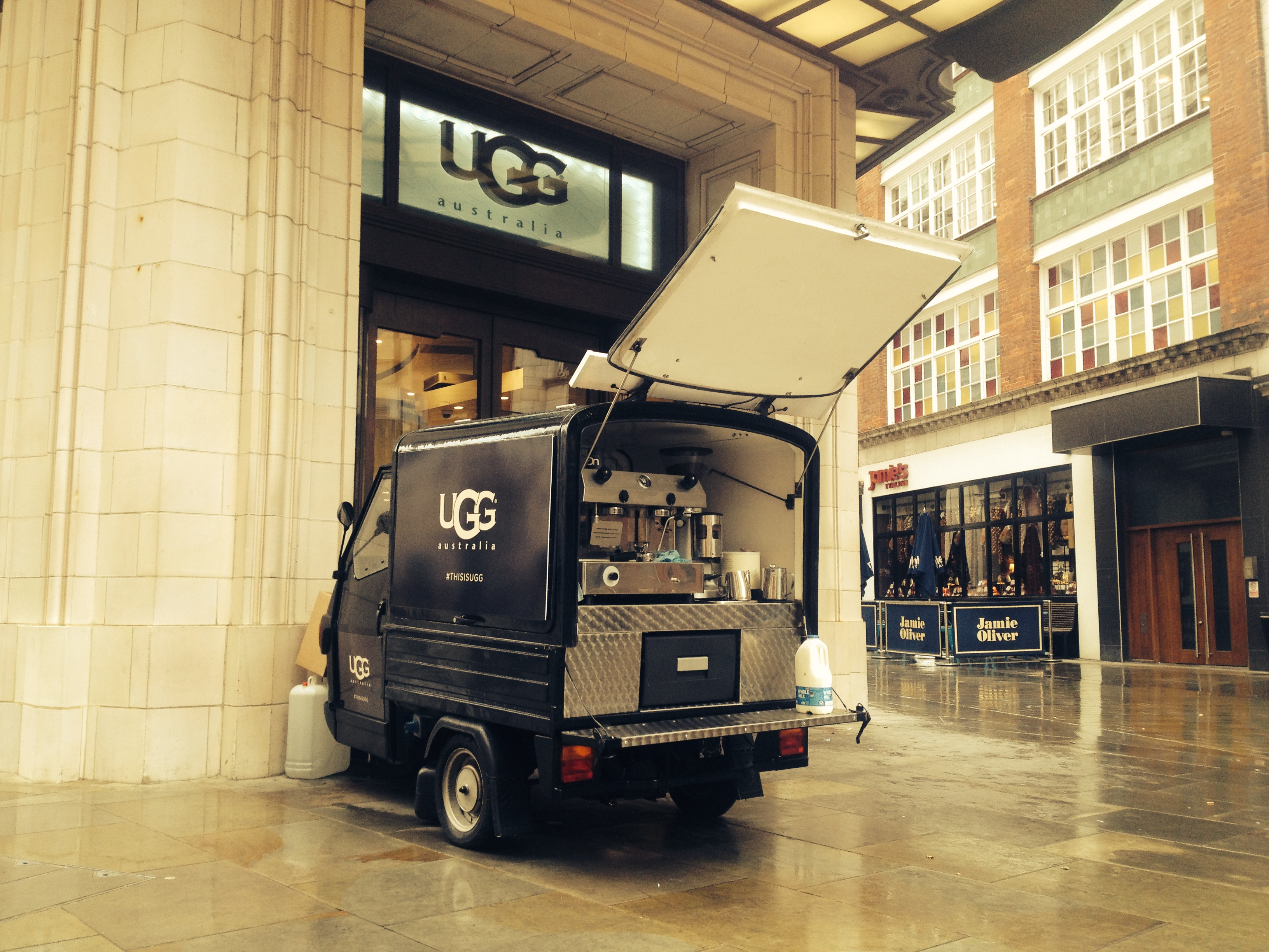 The Mobile Coffee Bean mobile coffee van branded for UGG