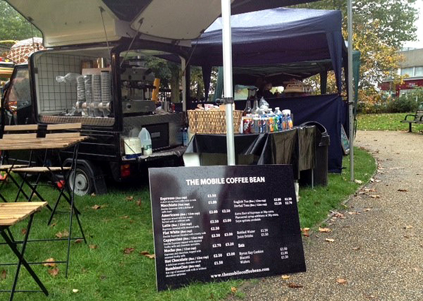 The Mobile Coffee Bean mobile coffee van hire with menu outdoors