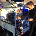 The Mobile Coffee Bean mobile coffee van with barista