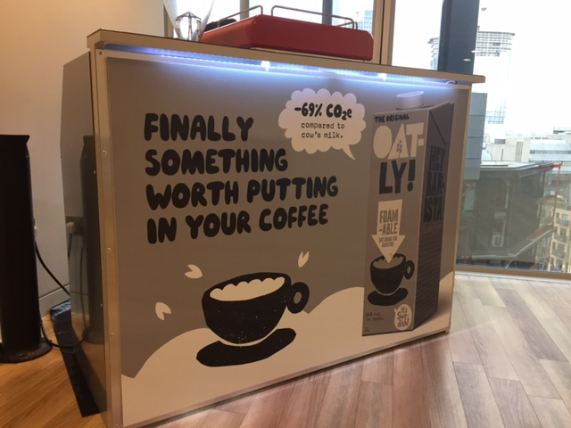 Photos of mobile coffee van, cart and bar hire - The Mobile Coffee Bean - Oatly branded mobile coffee bar hire
