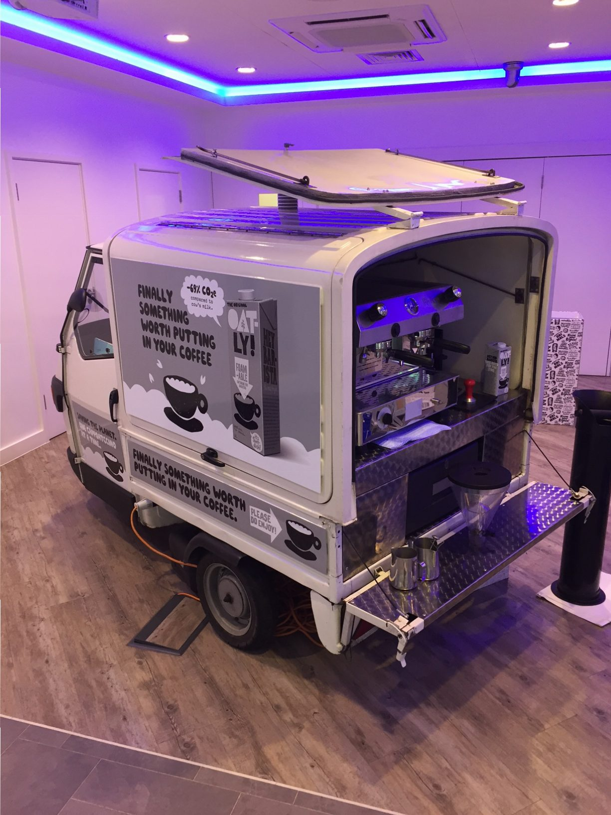The Mobile Coffee Bean Oatly vegan milk branded mobile coffee van hire