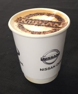 The Mobile Coffee Bean stencil coffee art and mobile coffee van hire for Nissan