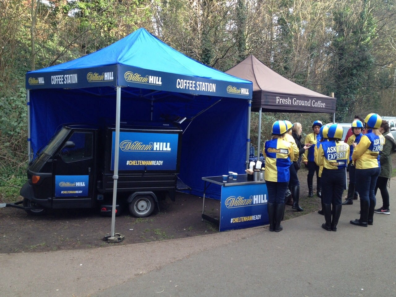 Photos of mobile coffee van, cart and bar hire - William Hill corporate branded mobile coffee van hire by The Mobile Coffee Bean